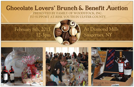 February 8, 2015 - Family of Woodstock's Annual Chocolate Lovers' Brunch and Benefit Auction at Diamond Mills, Saugerties, NY