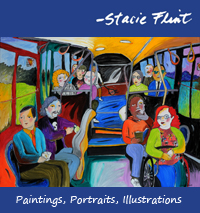 """Riders on the Bus"", by Stacie Flint, New Paltz New York, Commissioned by Ulster County Area Transit (UCAT)"